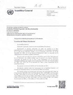 La ONU reafirma el derecho del pueblo saharaui a la autodeterminación