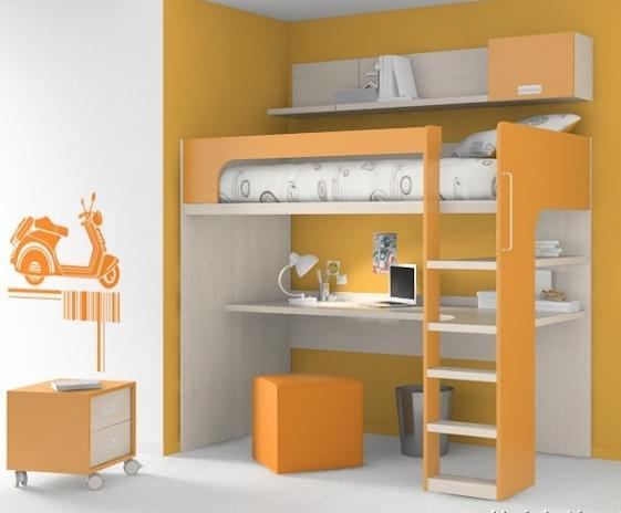 Habitaciones con poco espacio soluci n cama con - Camas infantiles con escritorio ...