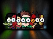 Héroes ojos grandes Graciosas caricaturas superhéroes