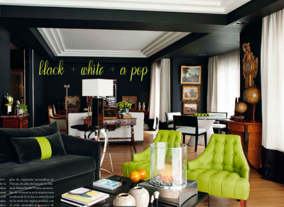 Interiores de Casas Pop: Black + White + a Pop
