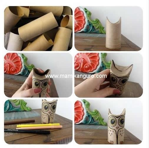 excellent lechuzas recicladas para decorar o hacer tteres de cartn with decoracion con cosas recicladas