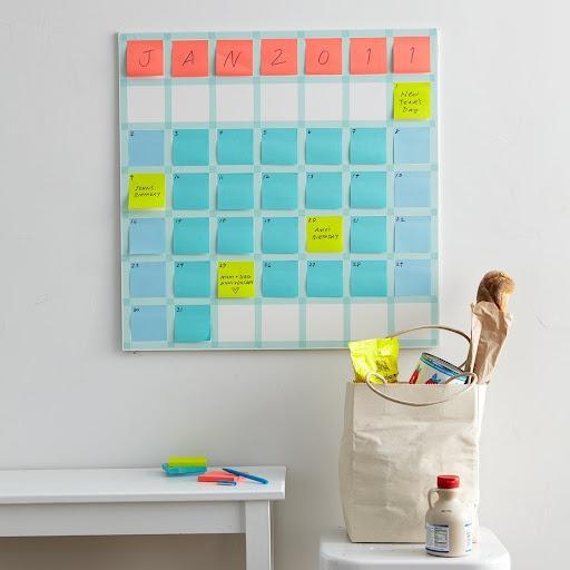 Sticky Note Calendar Diy : Arte con post it paper
