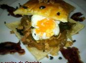 Hojaldre cebolla texturas huevo poche iberico crujiente