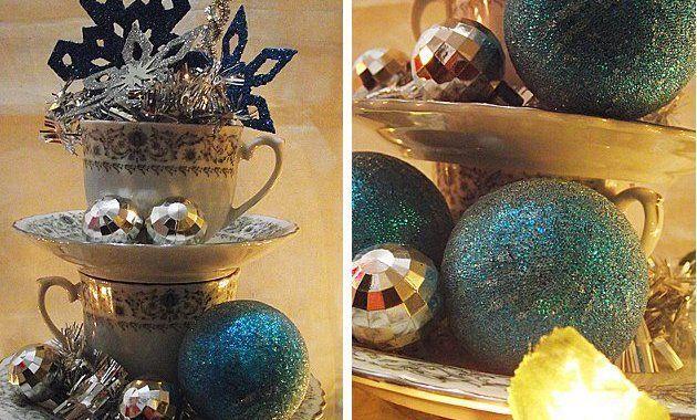 Centro de mesa navide o hecho con tazas y platos paperblog - Centros de mesa navidenos hechos a mano ...