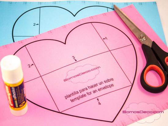 Cómo hacer un sobre con un corazón (plantilla imprimible) - Paperblog