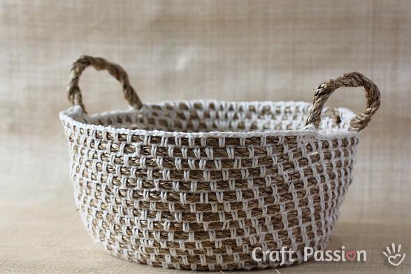 Cesta de cuerda y ganchillo paperblog - Cesta de cuerda y ganchillo ...