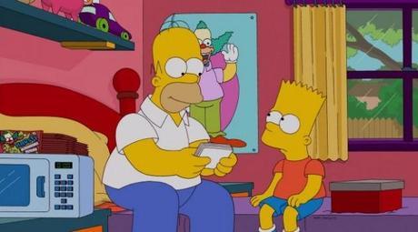 Bart y Homer siendo amigos.