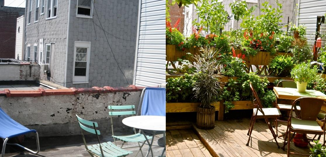 Antes y después de una terraza en New York