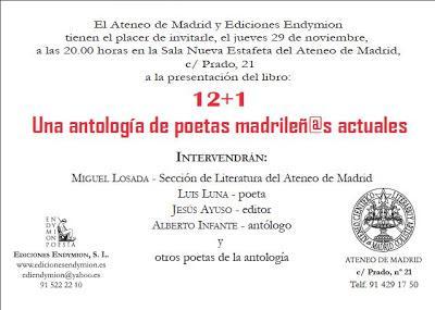 Presentación de 12+1 en el Ateneo de Madrid