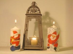 DIY adorno navideño velas decoupage servilletas navidad decoracion