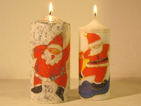 Tutorial DIY velas adornos navideños navidad con decoupage