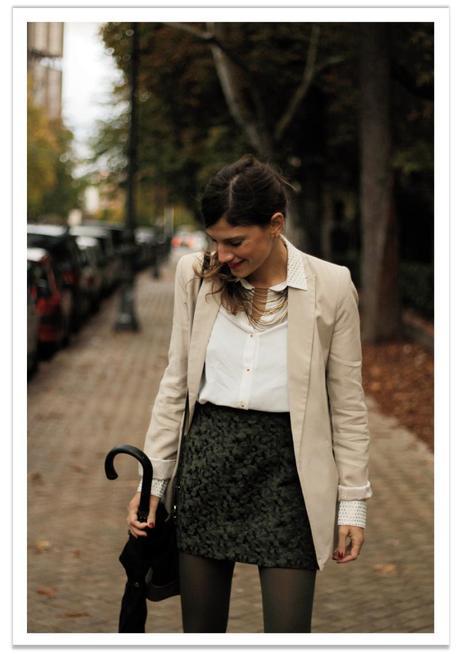 falda-verde-americana-beige-balamoda 2