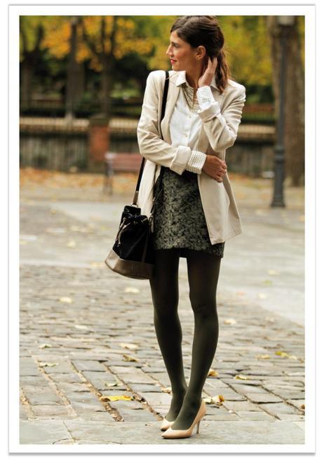 falda-verde-americana-beige-balamoda 4