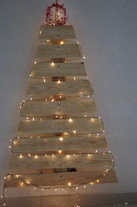 rboles de navidad con madera