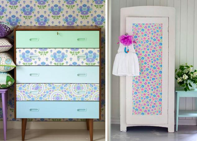 Recicla muebles viejos paperblog - Forrar muebles con papel pintado ...