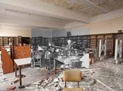 Escuela abandonada Detroit. Fotomontaje antes ahora