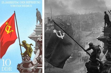 Sello Postal Reichstag y foto que lo origina