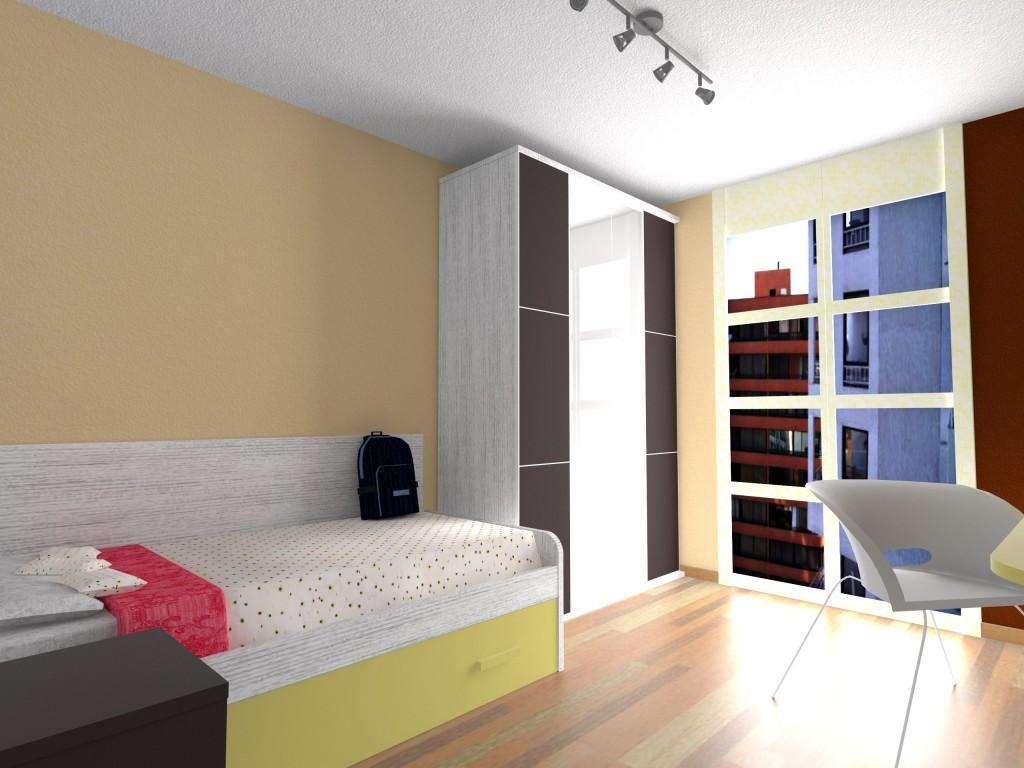 Dise o dormitorio juvenil en beig y moka muebles azor for Disenos de paredes para dormitorios
