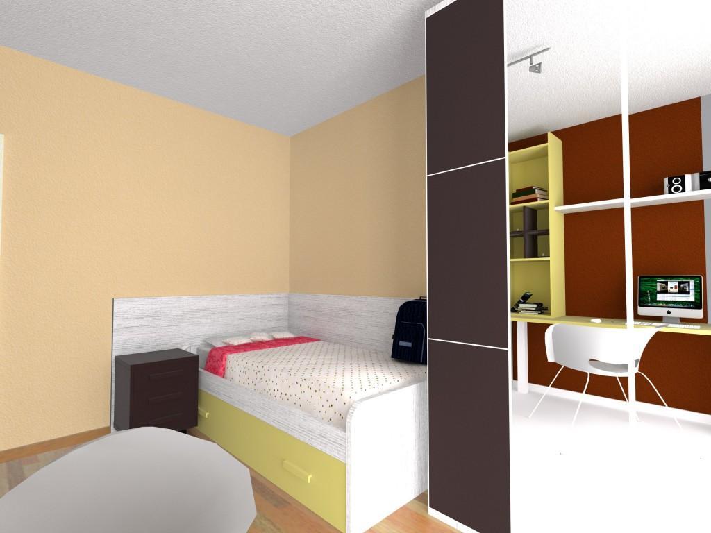 Dise o dormitorio juvenil en beig y moka muebles azor for Diseno dormitorio