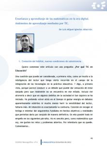 """Colaboración en el Monográfico """"e-MatemáTICas"""" del Observatorio SCOPEO"""