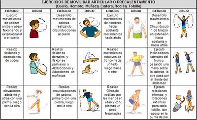 ejercicio calentamiento especifico: