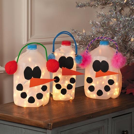 nuestros favoritos!!! Estos botes de muñecos de nieve con luces ...