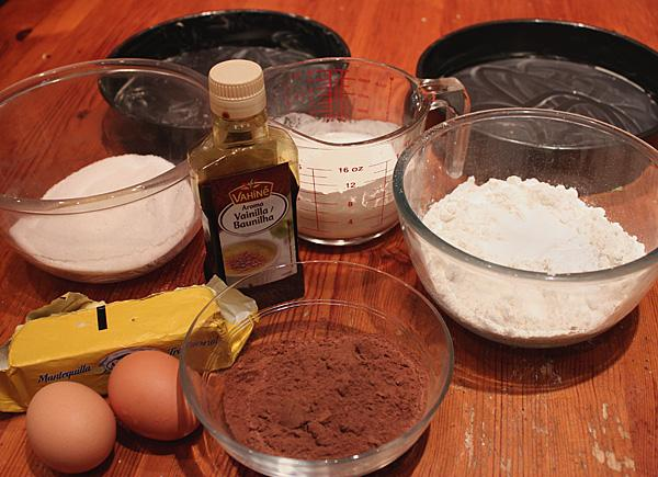 ingredientes para torta de chocolate