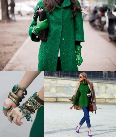 complementos y moda verde esmeralda