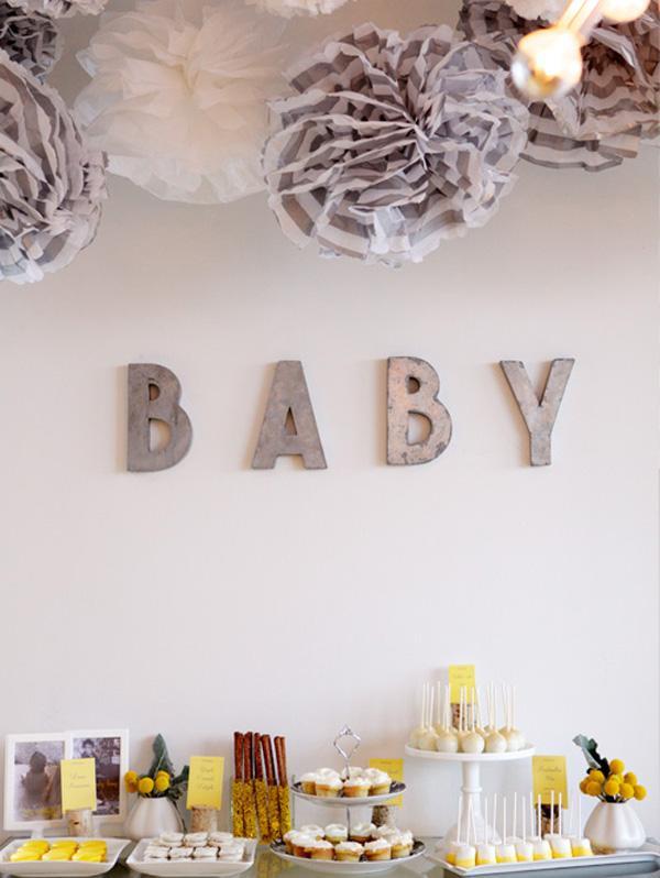Baby Shower de amarillo y gris