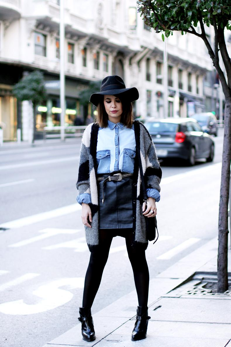 denim shirt leather skirt paperblog