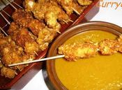 Brocheta pollo rebozada quicos chutney piña