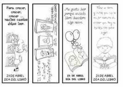 DÍA DEL LIBRO ( puntos de libro para imprimir y colorear)   Paperblog
