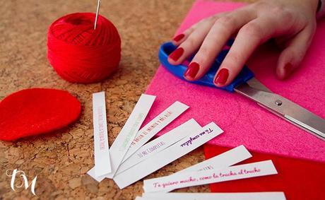 materiales para manualidad Manualidades con fieltro para San Valentín