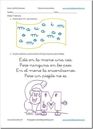 Letra M 7  Lecto Escritura    Material De Aprendizaje
