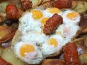 Receta huevos codorniz patatas chistorra