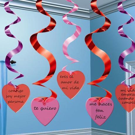 colgantes corazon de fiestafacil con mensajes amorosos