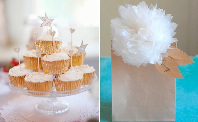 regalos y cupcakes Ideas para decorar comuniones en casa