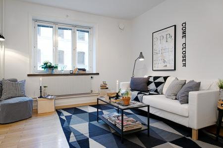 Mini piso de 40 m de estilo escandinavo paperblog for Salones pequenos ikea