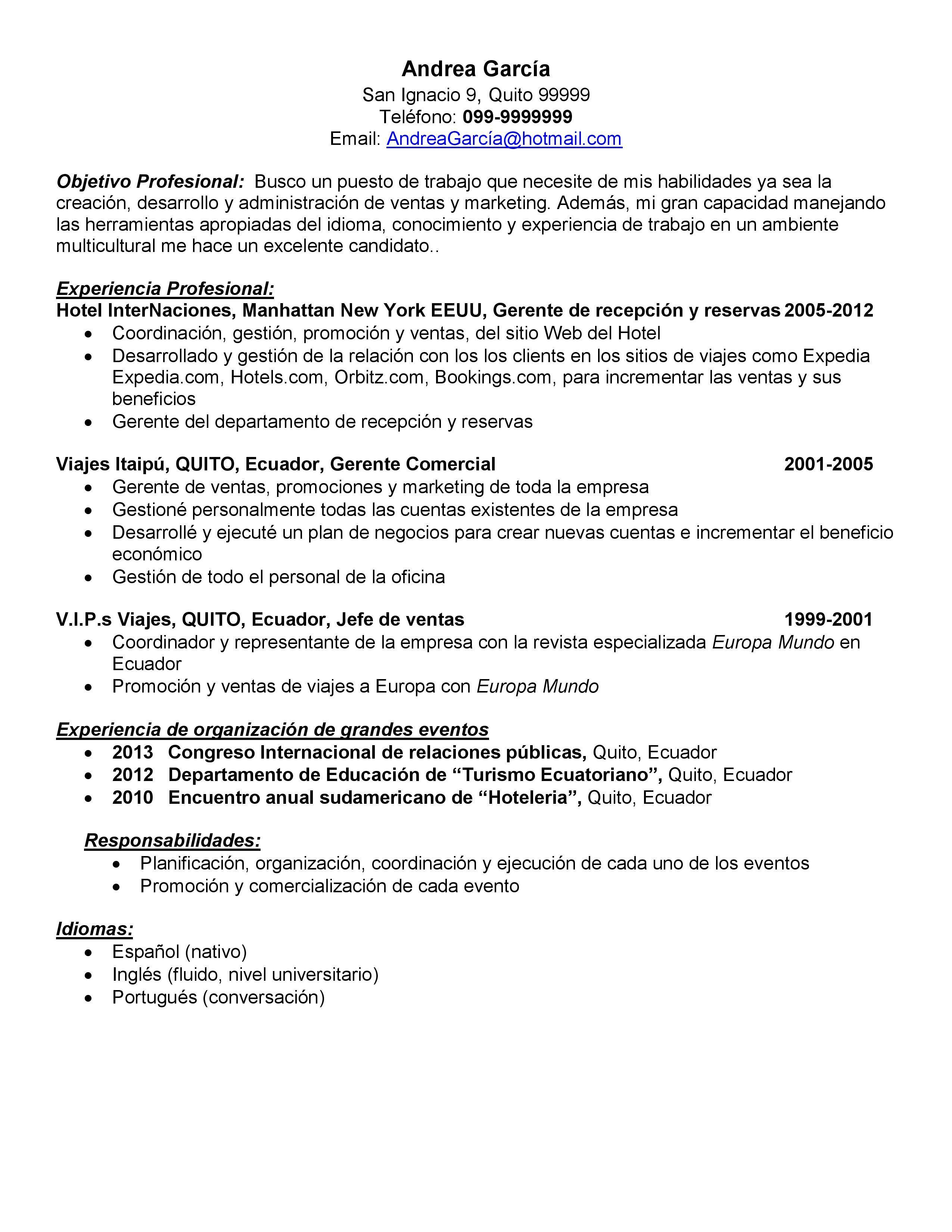Demo de: Currículum vitae para promotor de ventas - Paperblog