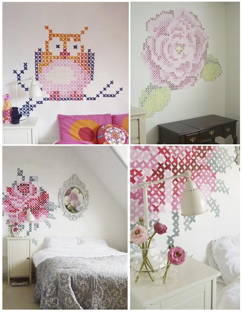 Decorar una pared con punto de cruz paperblog - Como adornar una pared ...