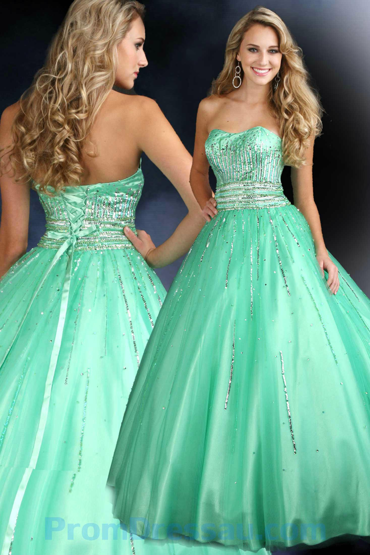Mint Green Puffy Prom Dress