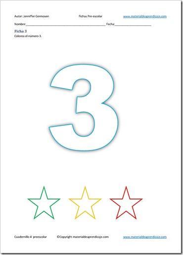 El número 3: Preescolar ficha 3 – 4 - Paperblog