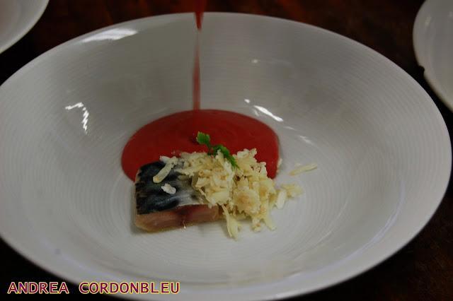 Gazpacho de cerezas con caballa y queso de cabra recetas for Platos de alta cocina