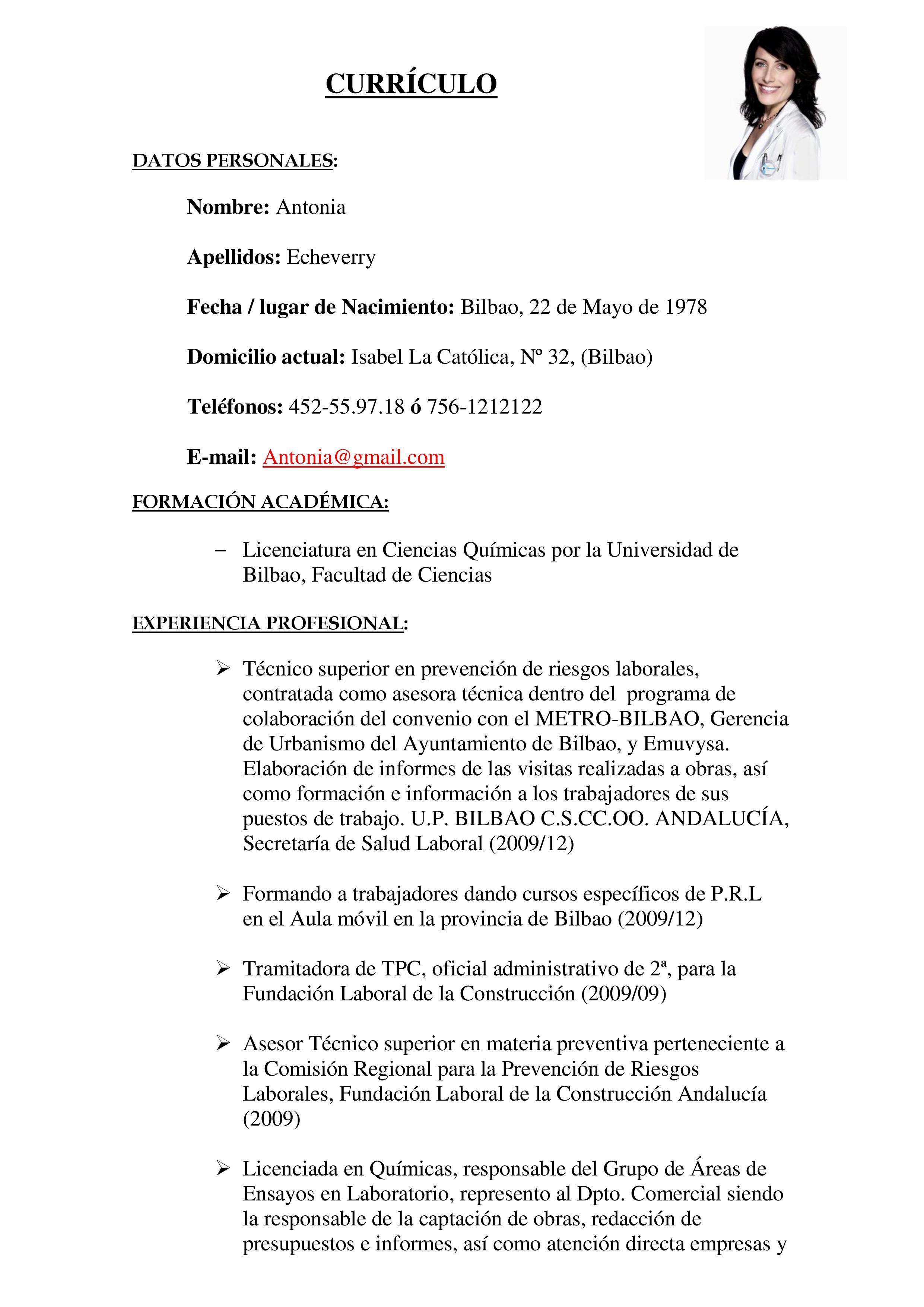 Ejemplo O Modelo De Curriculum Vitae Modelo De