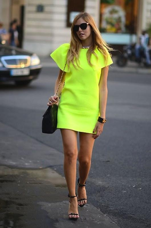 neon-yellow-dress-street-style style hunter