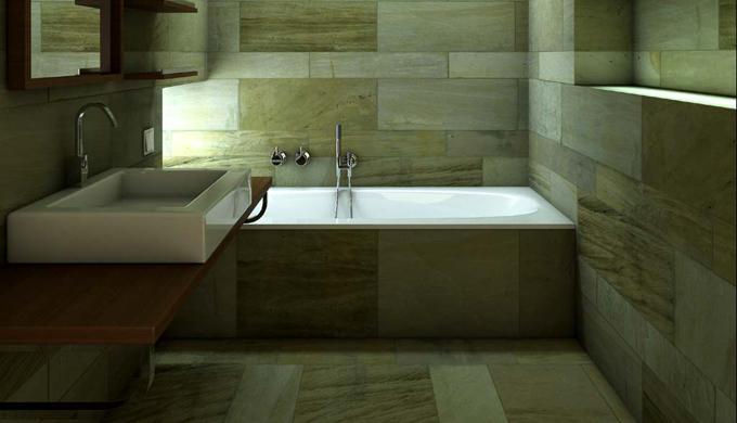 Medio Baño Minimalista:Baño minimalista, con línas geométricas puras en todo su diseño