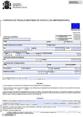 Modelo contrato indefinido de apoyo a los emprendedores for Modelo contrato empleada de hogar indefinido