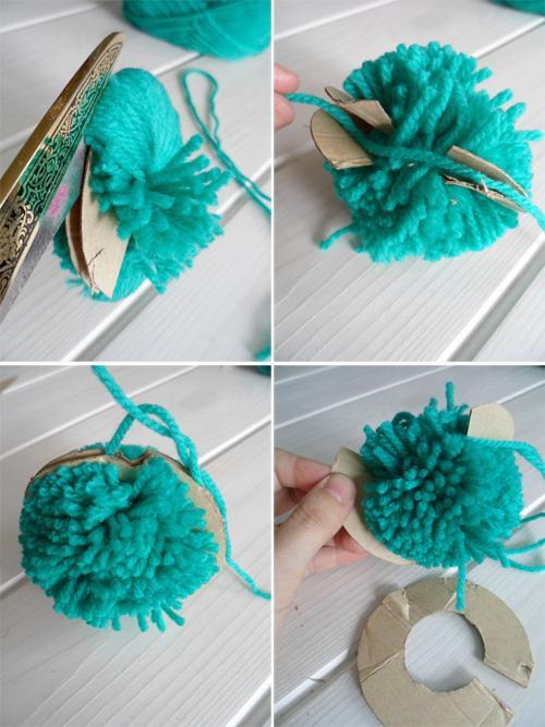 C mo hacer pompones de lana paperblog - Como hacer alfombras de lana ...