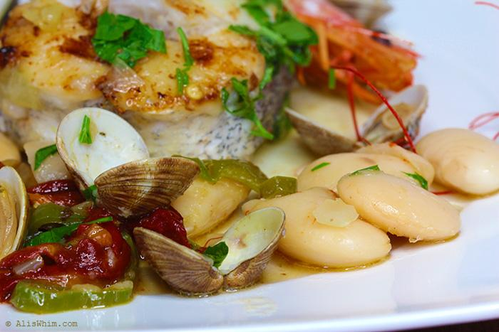Hake with clams and butter beans