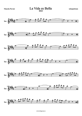 La Vida es Bella Partitura para Saxo Alto y Barítono Sax de Niacola Pavoni Banda Sonora de la Película La Vida es Bella la vita è bella partitura per sassofono contralto e sax baritono. Anche per Horn.